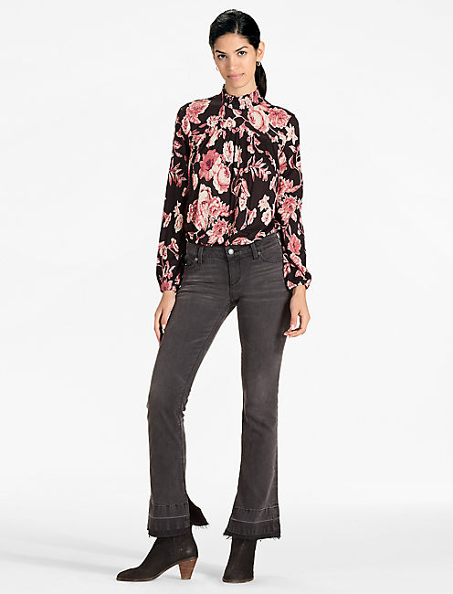 MOCK-NECK FLORAL TOP,