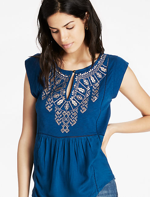 EMBROIDERED BIB TOP, BLUE OPAL # 19-4120