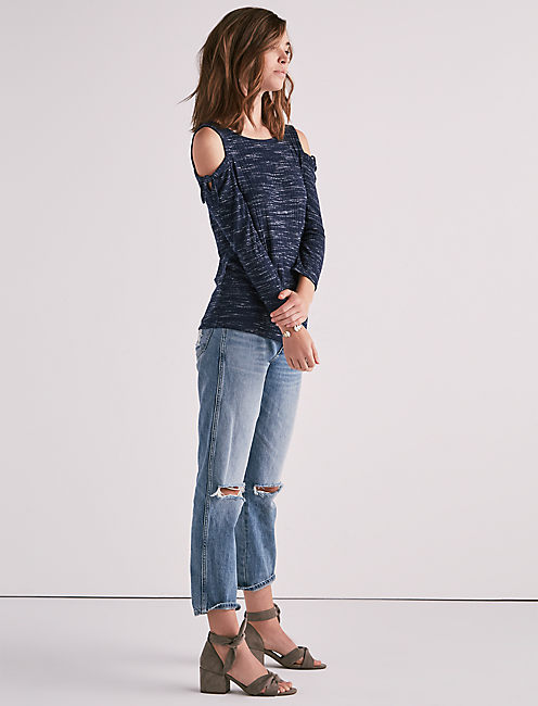 Lucky Tie Cold Shoulder 3/4 Sleeve Top