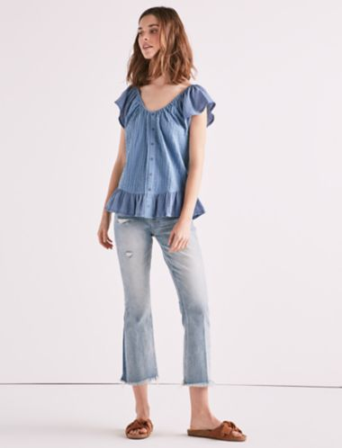 Lucky Textured Woven Mix Media Top