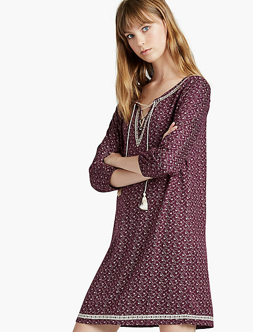 EMBROIDERED DITSY DRESS,