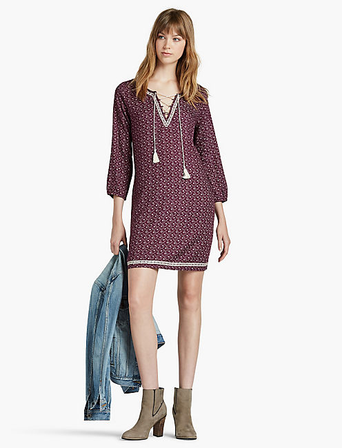 LUCKY EMBROIDERED DITSY DRESS