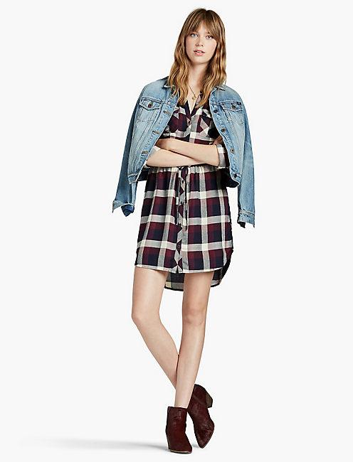 LUCKY PLAID BUTTON FRONT DRESS