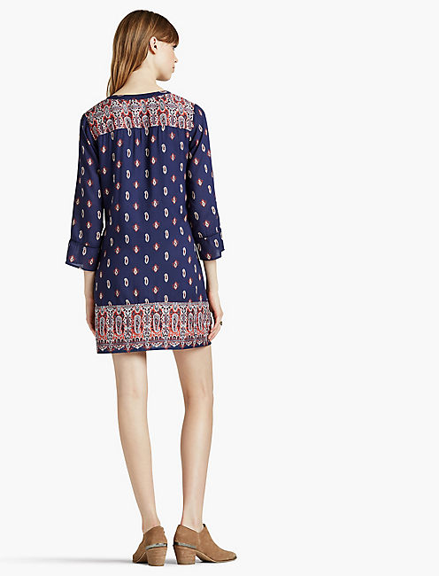 PAISLEY BORDER SHIFT DRESS,