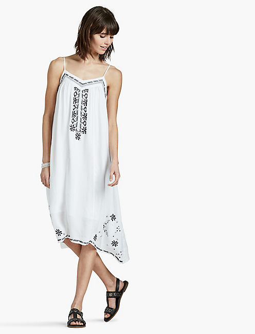 EMBROIDERED DRESS, WHITE MULTI