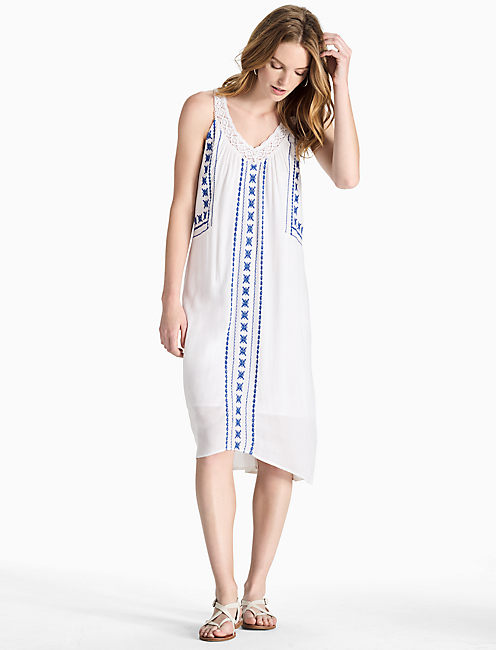 V NECK EMBROIDERED DRESS, LUCKY WHITE