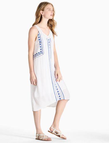 Lucky V Neck Embroidered Dress