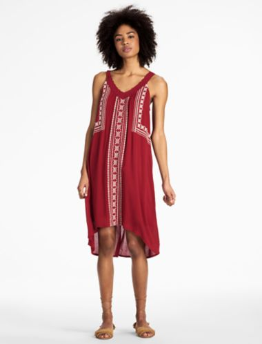 Lucky V Neck Embroidered Dress