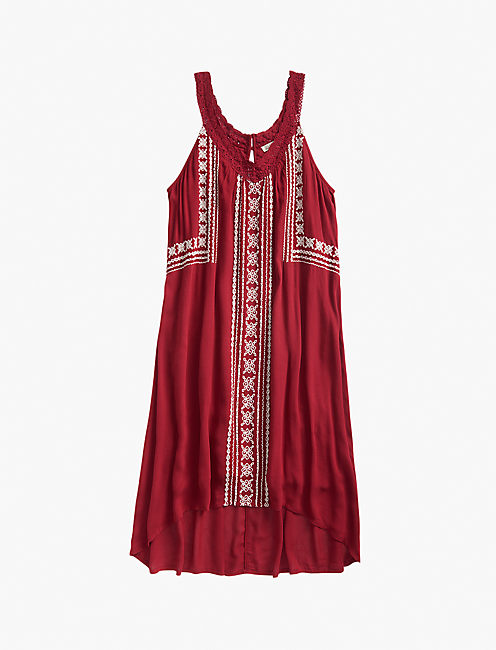 V NECK EMBROIDERED DRESS, #6703 BIKING RED