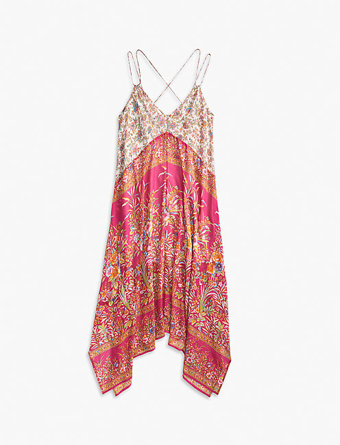 FLORAL SCARF MIDI DRESS, PINK MULTI