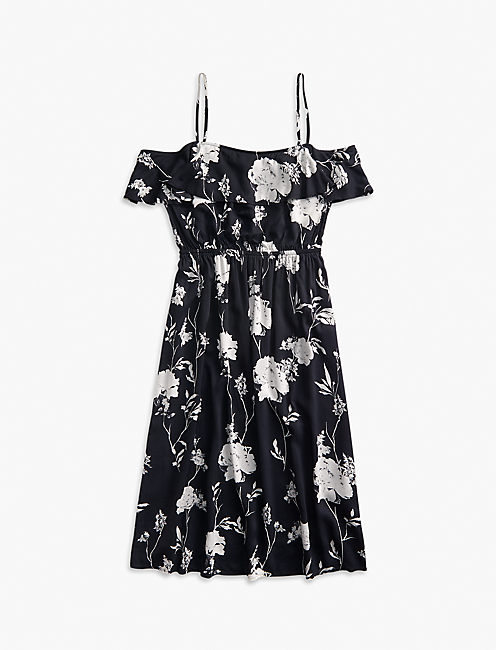 FLORAL RUFFLE MIDI DRESS, BLACK MULTI