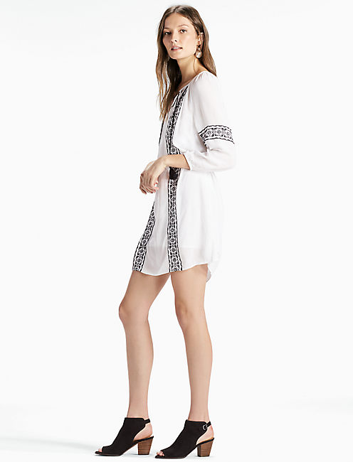 EMBRODIDERED PEASANT DRESS, MARSHMALLOW