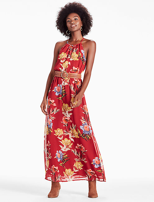 Lucky Red Floral Halter Maxi