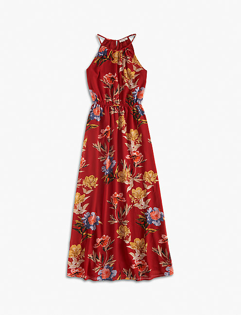 RED FLORAL HALTER MAXI, RED MULTI