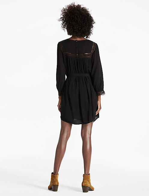 GEO LACE INSERT DRESS, 001 LUCKY BLACK