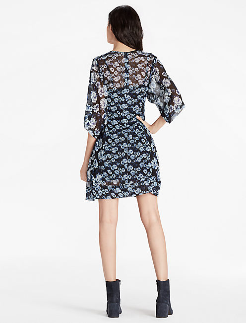 PRINTED FLORAL DRESS, BLUE MULTI