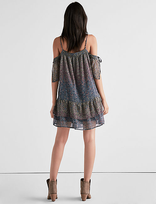 COLD SHOULDER RUFFLE DRESS, MULTI