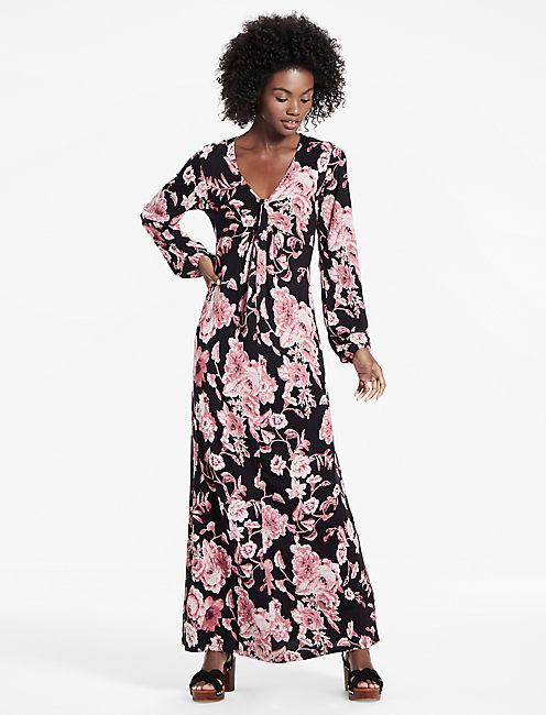 Floral Print Tie Front Maxi Dress, BLACK MULTI