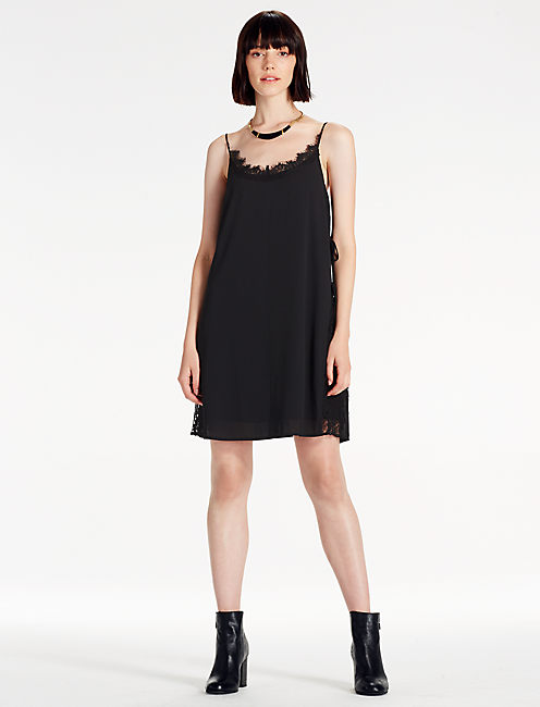 SLIP DRESS, 001 LUCKY BLACK