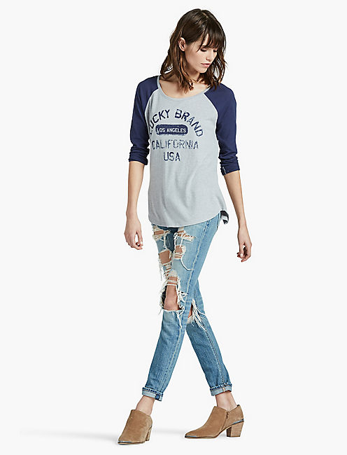 LUCKY BRAND USA TEE, STEEL GREY HEATHER
