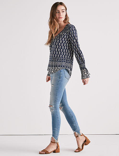 Lucky Long Sleeve Printed Top