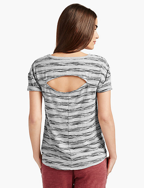 STRIPED OPEN BACK TEE, BLACK MULTI