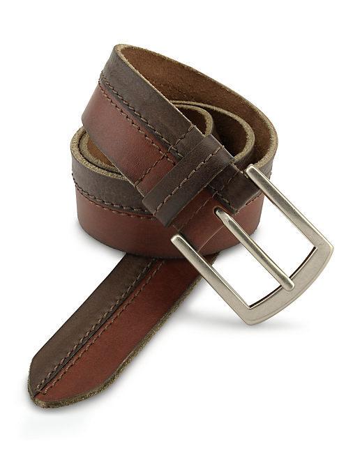 CENTER STITCH BELT, MEDIUM BROWN