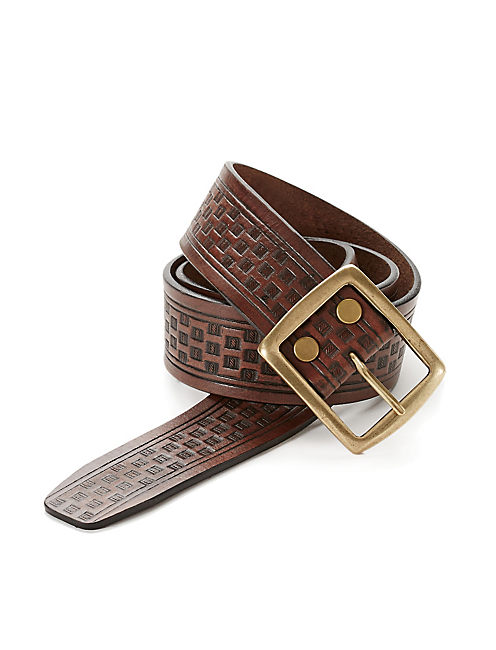 EMBOSSED LEATHER BELT, DARK BROWN