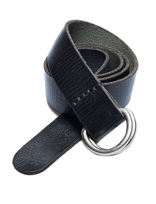 DOUBLE RING LEATHER BELT, BLACK