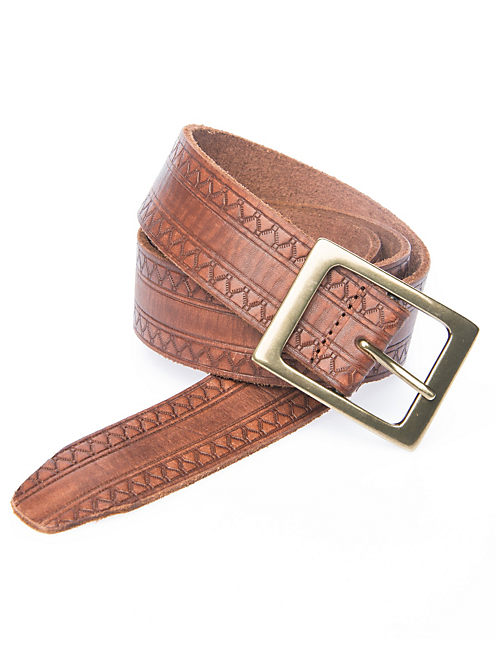 ZIG ZAG PATTERN BELT, MEDIUM DARK BROWN