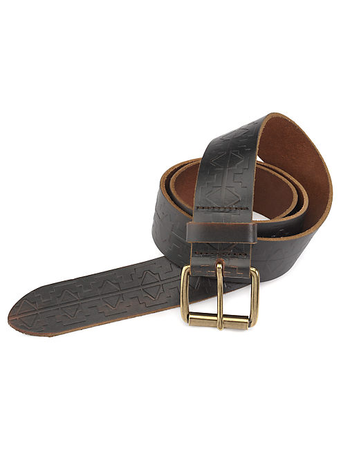 EMBOSSED BELT, DARK BROWN