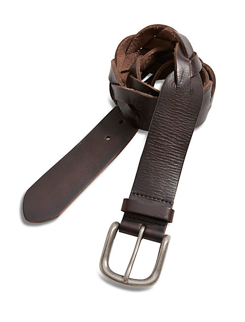 PIECED BRAID BELT, MEDIUM DARK BROWN