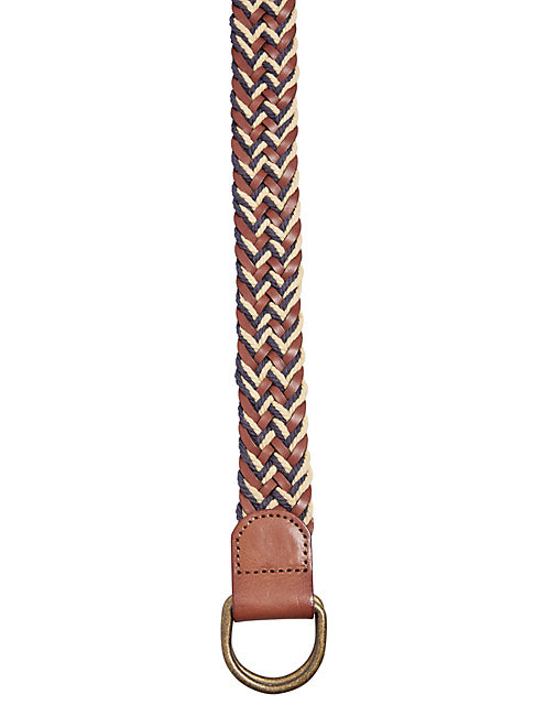 "MEN""S WOVEN BELT, MEDIUM BROWN"