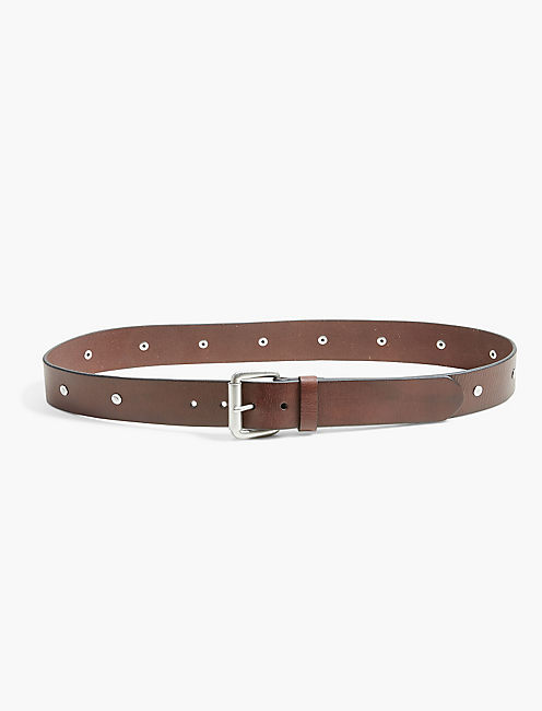 HAMMERED STUD BELT, ALMOND