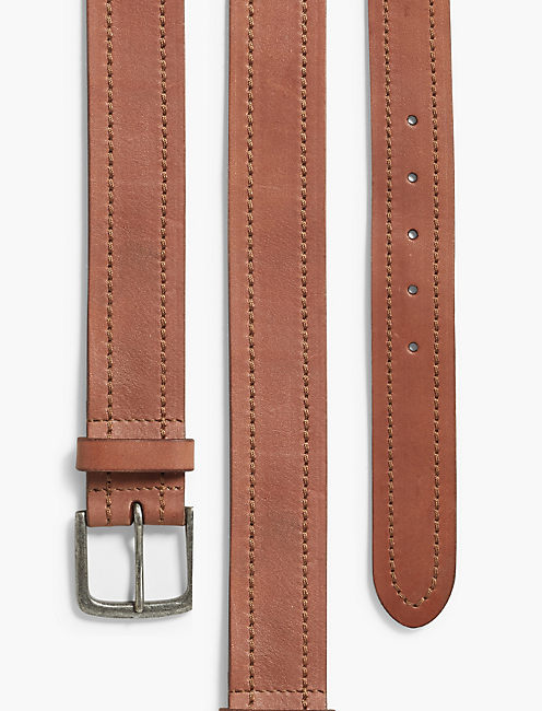 LUCKY STITCHED LEATHER BELT