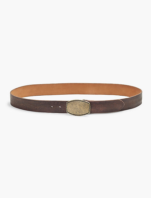 CRACKLED LEATHER BELT, CHOCOLATE