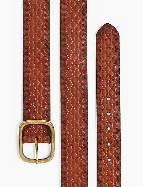 TOOLED LEATHER BELT, BROWN