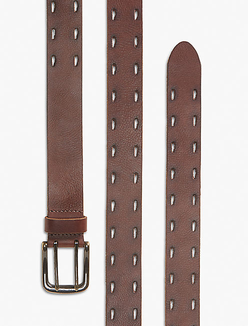 PERFORATED BORDER BELT, BROWN