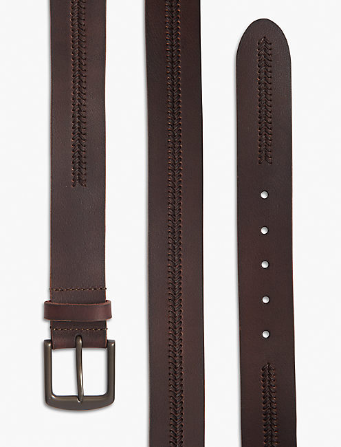 CHEVRON STITCH BELT, BROWN