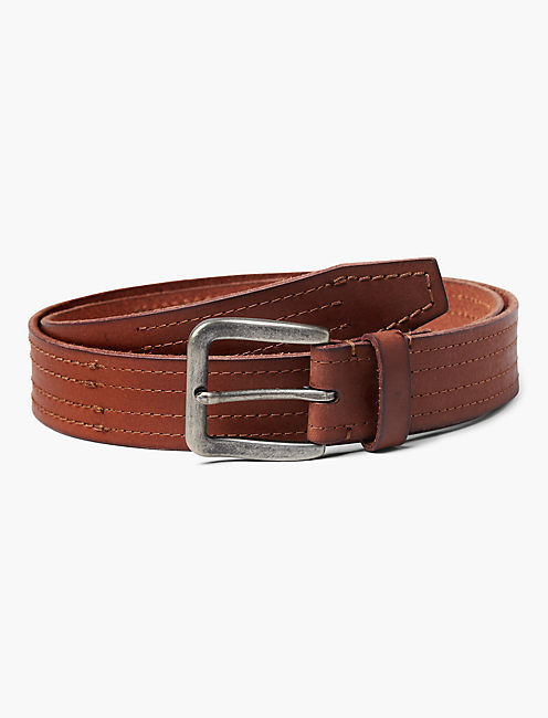 STITCHED LEATHER BELT, BROWN