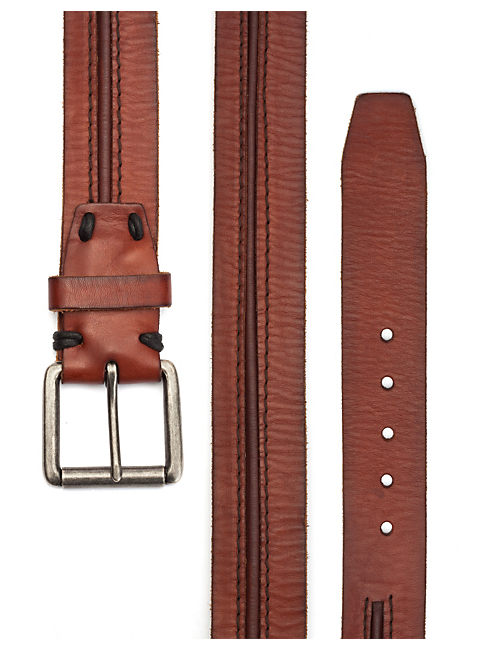 STITCH WITH GROOVE BELT, DARK BROWN