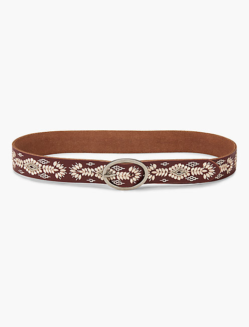 BEADED EMBROIDERY BELT, WINE