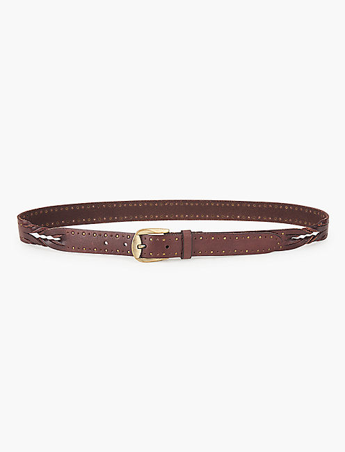 SKINNY STUDDED BELT WITH TWIST DETAIL, BROWN
