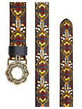 MARISA EMBROIDERED BELT, DARK BROWN