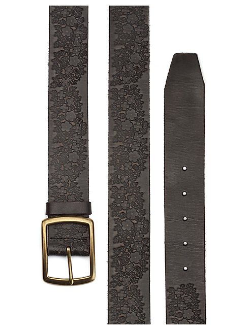 FLORAL EMBOSSED BELT, BLACK