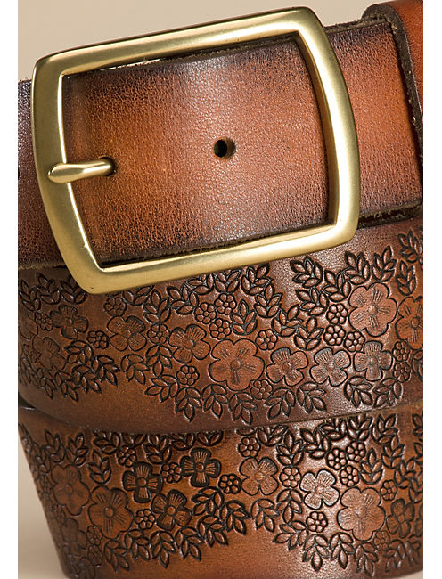 FLORAL EMBOSSED BELT, DARK BROWN