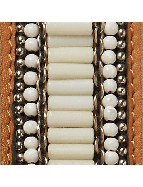 IVORY BEADED BELT, BROWN