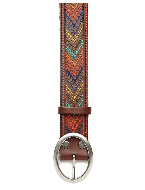 MULTI COLOR LEATHER BELT, DARK BROWN