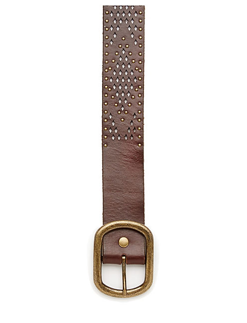 PERFORATED STUD BELT, MEDIUM BROWN