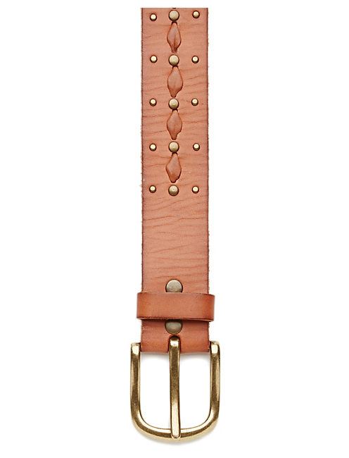LACED STUD BELT, MEDIUM BROWN